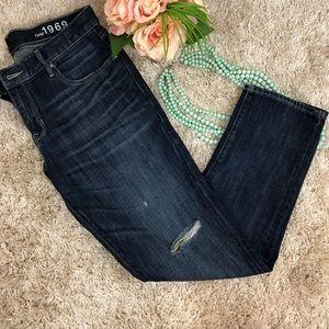 GAP 1969 Sexy Boyfriend Distressed Dark Wash Jeans